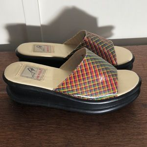 Platform Rainbow Slip-On Sandals